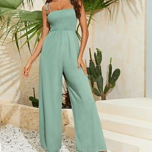 Pants - NEW SHIRRED BODICE KNOTTED CAMI JUMPSUIT